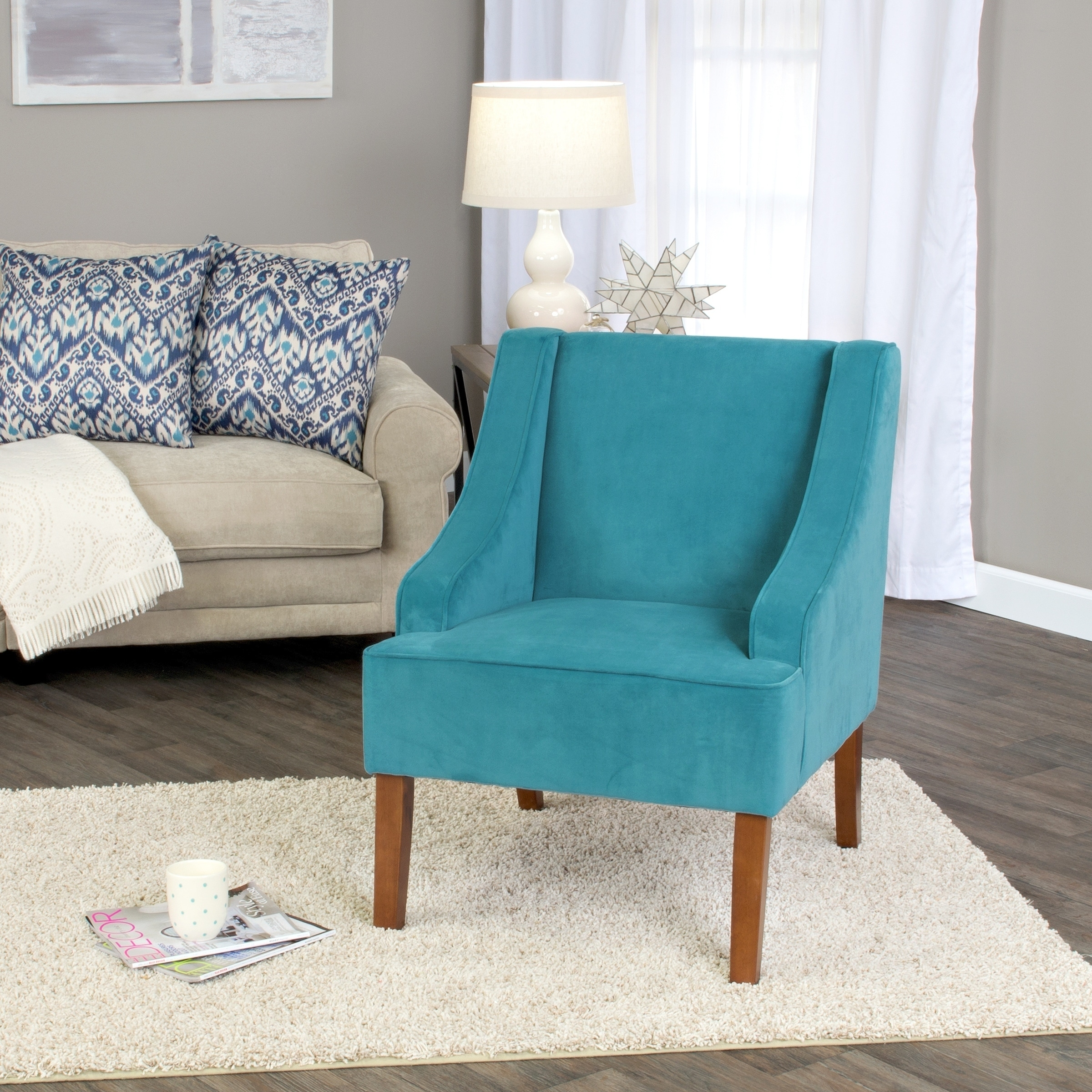 Turquoise Side Chair Homepop Swoop Arm Accent Chair In Teal Turquoise Velvet
