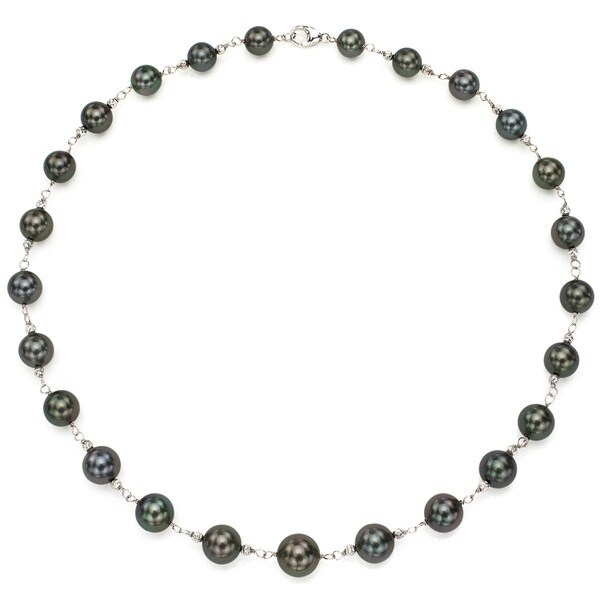 Shop DaVonna Sterling Silver Black Tahitian Pearl and
