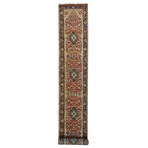 XL Runner Antiqued Heriz Recreation Rug Hand Knotted