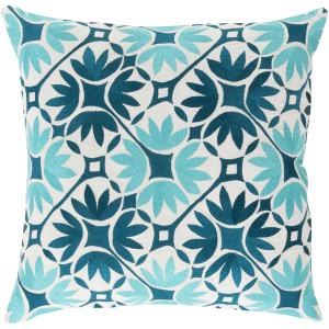 Decorative Carole Floral Feather Down or Polyester Filled 20-inch Throw Pillow