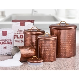 canisters kitchen upgrade buy online at overstock com our best 4 piece hammered antique copper canister set