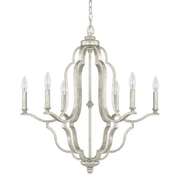 Capital Lighting Blair Collection 6 Light Antique Silver Chandelier