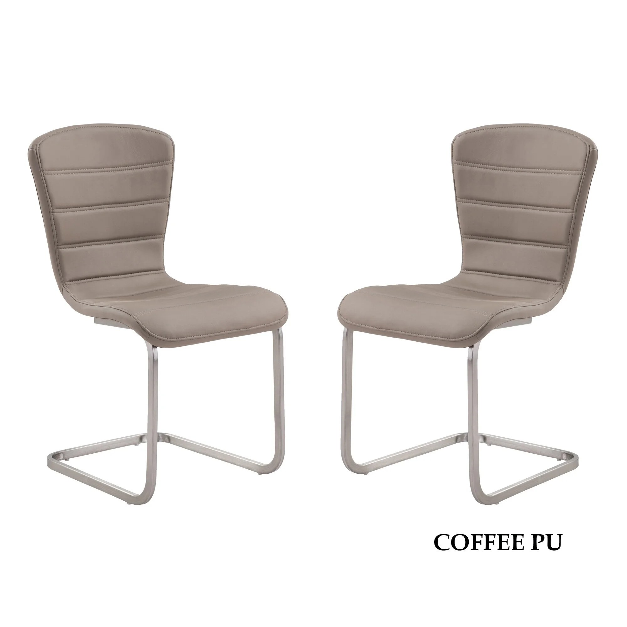 dining chairs with stainless steel legs plastic chair covers walmart cameo contemporary coffee leatherette