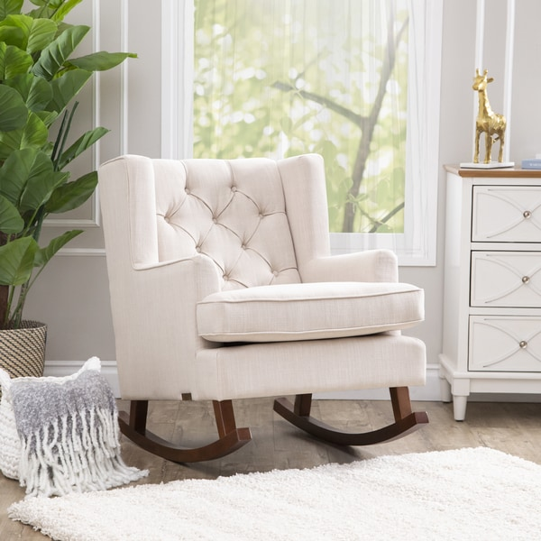 abbyson living thatcher fabric rocking chair in beige chairs at homegoods shop rocker on sale free shipping