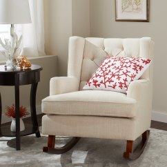 Abbyson Living Thatcher Fabric Rocking Chair In Beige Cushions For Steamer Chairs Buy Room Online At Overstock Our Best
