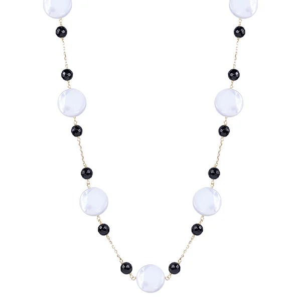 Shop 14k Yellow Gold Black Onyx Mother of Pearl 18-inch