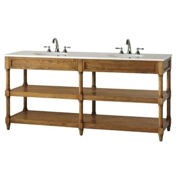 Shop Montaigne Weathered Oak Finish Double Bathroom Vanity With Two Open Shelves And White Natural Marble Top Overstock 10584322