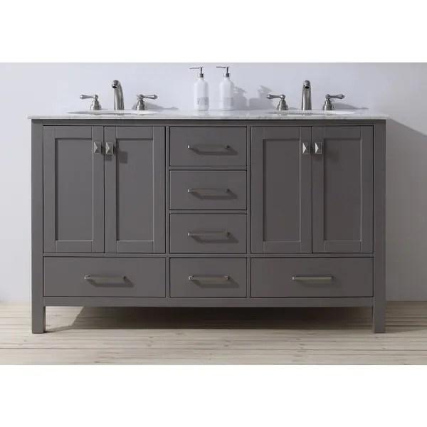gray double sink bathroom vanity Stufurhome 60 inch Malibu Grey Double Sink Bathroom Vanity - Free Shipping Today - Overstock.com