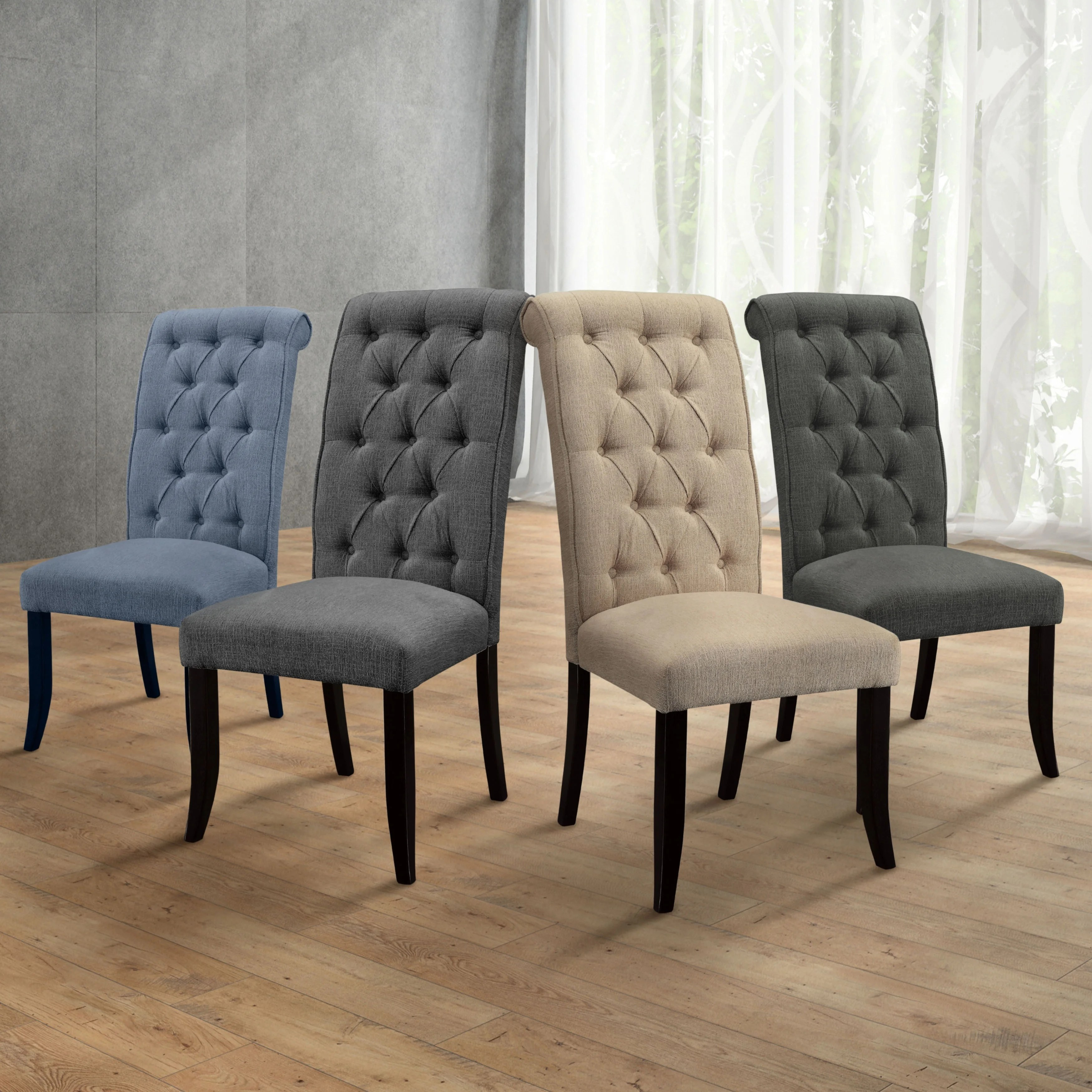overstock com dining room chairs fishing chair barrow gracewood hollow nimmo button tufted flax