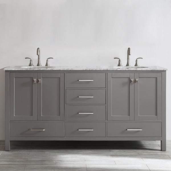 kitchen sink without cabinet table legs shop gela 72 inch grey double vanity with carrera white marble top mirror