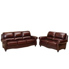 Burgundy Leather Sofa And Loveseat Where To Buy Cushion Cover In Singapore Shop Abbyson Barkley Top Grain