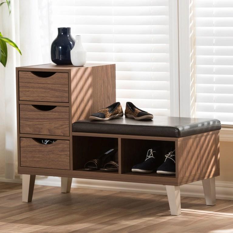 Arielle Modern 3-drawer Shoe Storage Padded Seating Bench