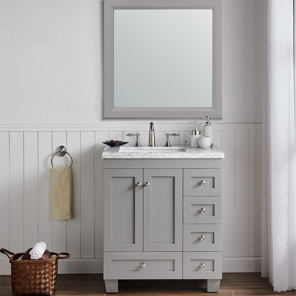 Shop Eviva Acclaim 30 Inch Gray Transitional Bathroom Vanity With White Carrara Marble Countertop And Undermount Porcelain Sink Overstock 10609864