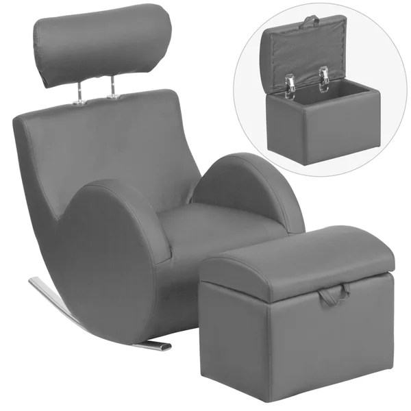 kids chair and ottoman grey leather shop hercules rocking storage set free