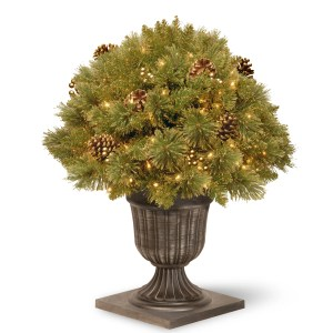 """26"""" Glittery Gold Pine Porch Bush with Clear Lights"""