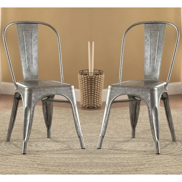 rustic metal dining chairs chair covers for hire manchester shop vintage distressed galvanized set of 4 free shipping today overstock com 10647342