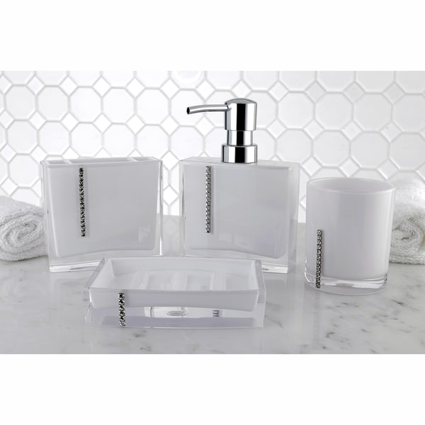 Shop Crystal White 4piece Bath Accessory Set  Free Shipping Today  Overstock  10650109