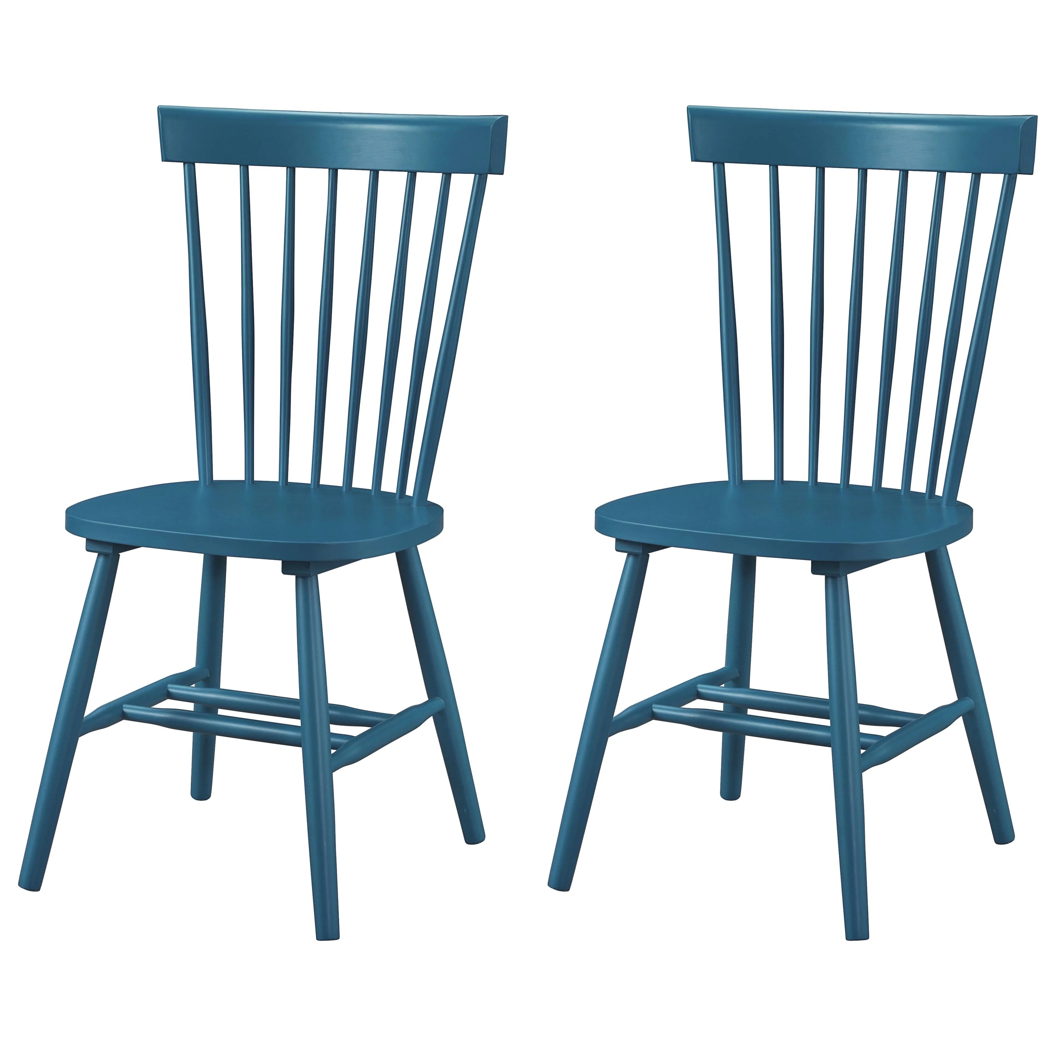 Dunner Danish Design Spindle Back Blue Teal Dining Chairs Set Of 2 Overstock 10650182