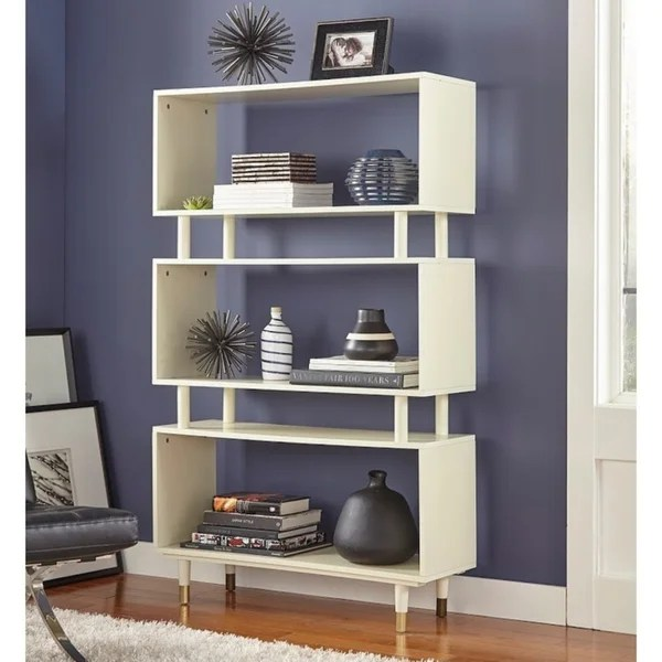 buy white wood bookshelves