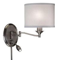 Transitional 2-light Antique Pewter Swing Arm Pin-up Plug ...