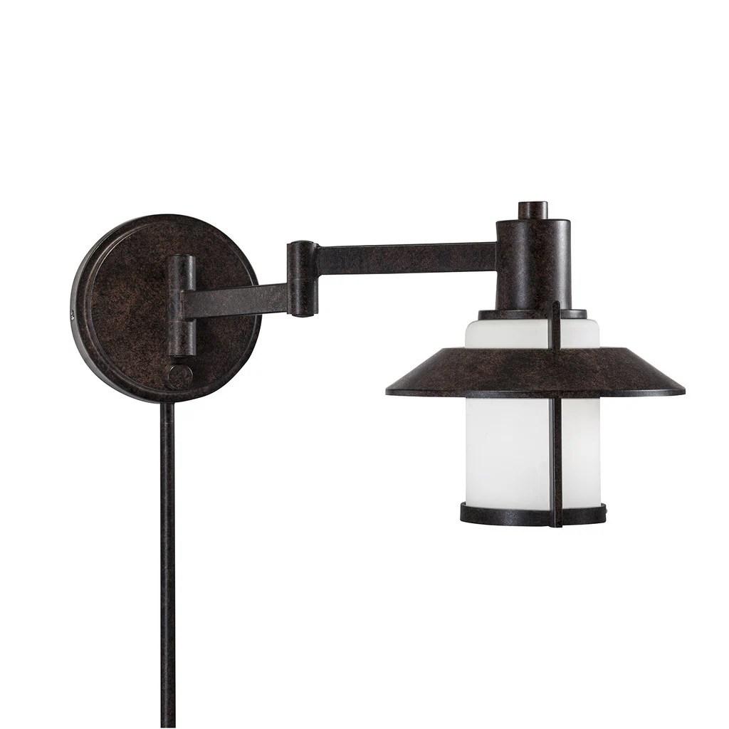 Transitional 1light Tannery Bronze Swing Arm Pinup Plugin Wall Lamp  eBay