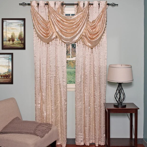 Elegant Faux Crushed Satin Window Curtain Waterfall Valance Set Or
