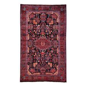 Hand-knotted Pure Wool Full Pile Persian Nahavand Area Rug (5'5 x 9'1) - Charcoal