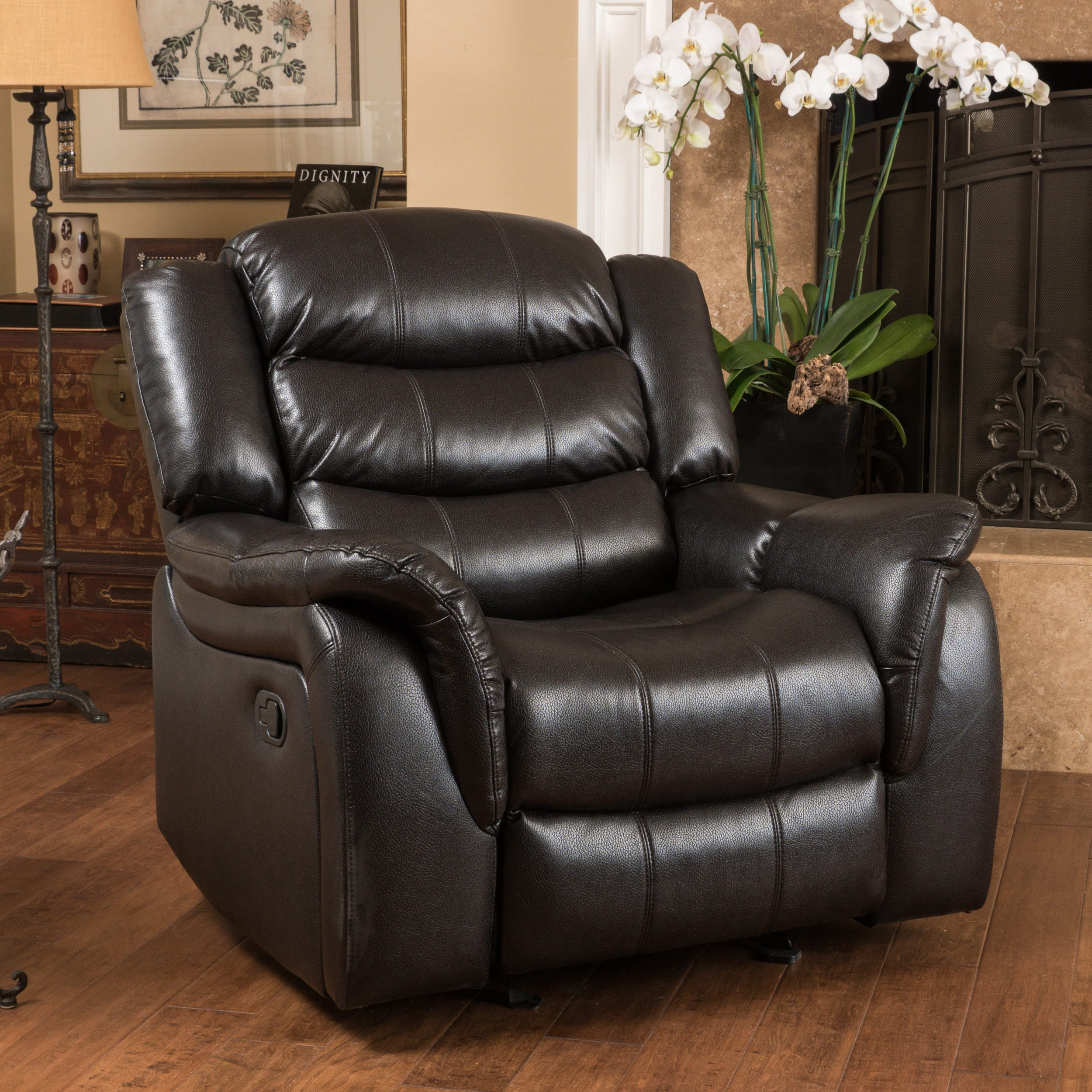 christopher knight leather chair rocker cushions hawthorne pu glider recliner by