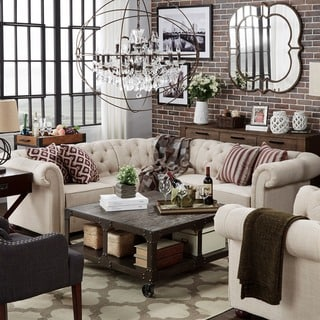 sectional sofa designs for living room wall units buy online at overstock com our best knightsbridge tufted scroll arm chesterfield 5 seat l shaped by inspire q artisan