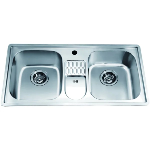 kitchen sinks with drain boards white appliance shop dawn top mount equal double bowl sink integral board and 1 hole free shipping today overstock com 10704610