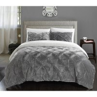 Chiara Sherpa Lined Grey Microplush 7-piece Bed In a Bag ...