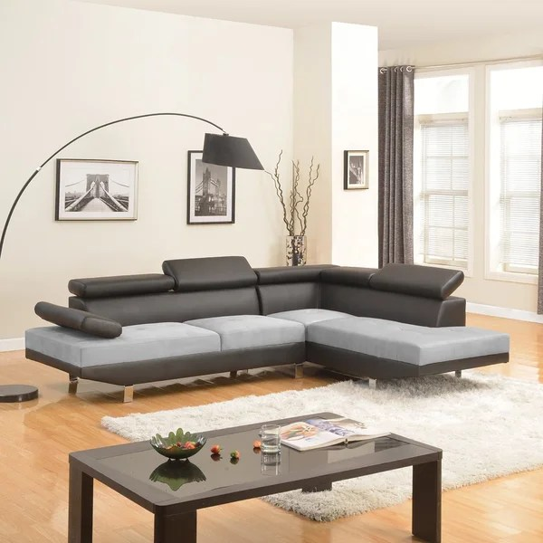sectional sofa deals free shipping natuzzi leather shop modern black contemporary two tone microfiber and ...