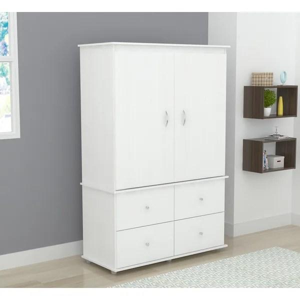 Inval Larcinia White Audio Video Armoire Cabinet  Free