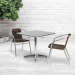 31 5 Square Aluminum Indoor Outdoor Table Set With 2 Dark Brown Rattan Chairs On Sale Overstock 10763237