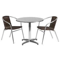2 Chairs And Table Rattan Captain For Boats Shop 31 5 Foot Round Aluminum Indoor Outdoor With Free Shipping Today Overstock Com 10763241