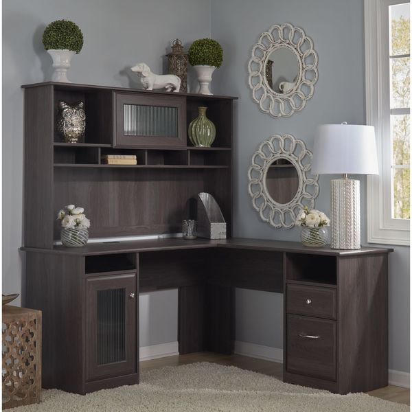 Cabot L Shaped Desk with Hutch  Free Shipping Today