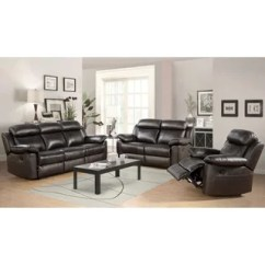 Modern Leather Living Room Set Brown Sets Buy Contemporary Furniture Online At Abbyson Braylen 3 Piece Top Grain Reclining Sofa