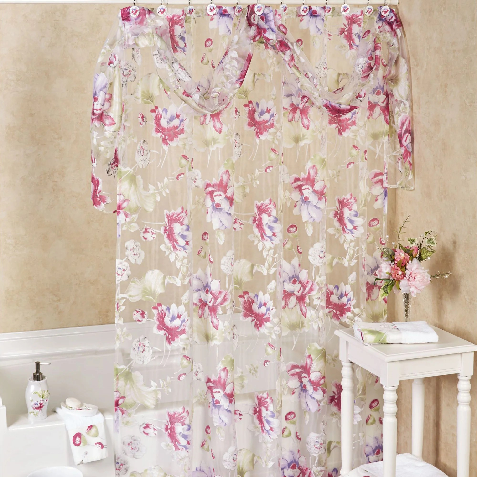 Sheer Floral Shower Curtain With Detachable Scarf Valance