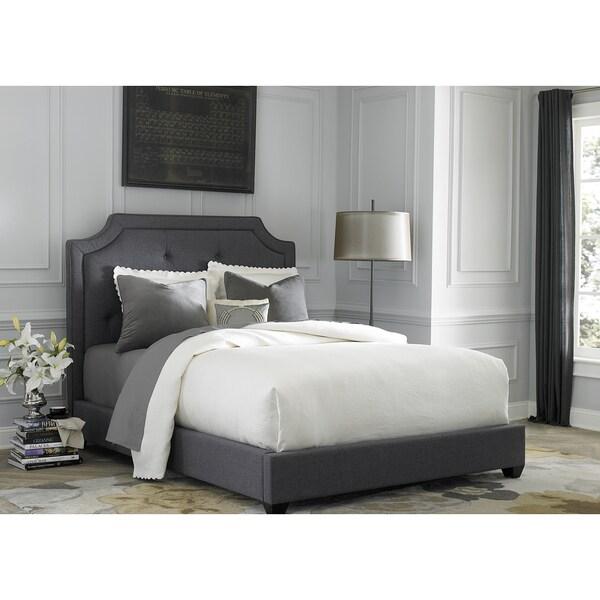 Dark Gray Linen Upholstered Sloped Panel Bed Set  Free