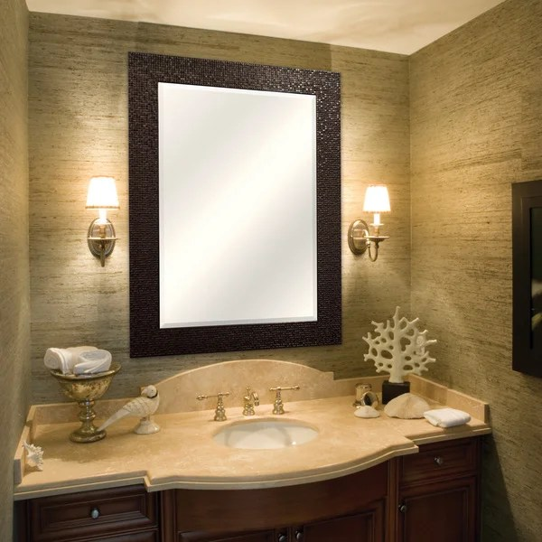 Bronze Grid Finish Beveled Mirror  Free Shipping Today