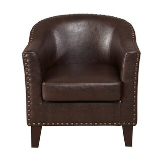 Dark Brown Faux Leather Accent Chair Free Shipping Today