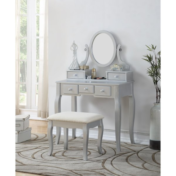 Maison Rouge Alice Wood Makeup Vanity Table And Stool