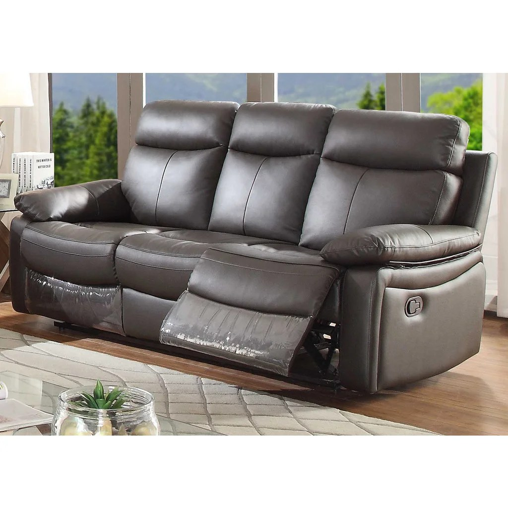 futura leather and vinyl power reclining sofa with headrest in stone microfiber suede cleaner recliner furniture for less overstock com