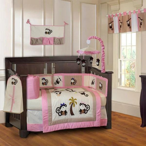 shop babyfad girls pink monkey  piece baby girls crib bedding set  musical mobile