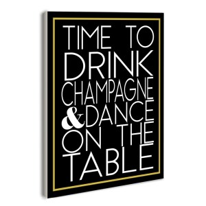 Stupell lulusimonSTUDIO Time to Drink Champagne Print Boutique Chic Wall Plaque