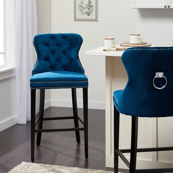 Shop Abbyson Versailles 30inch Navy Blue Tufted Bar Stool