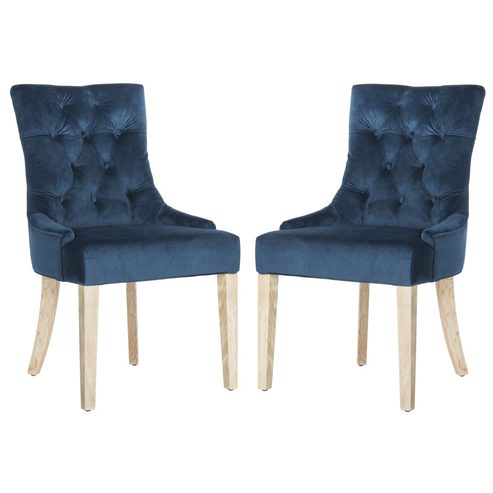 medium resolution of details about safavieh en vogue dining abby navy cotton dining chairs set blue