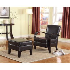 Roundhill Furniture Wonda Bonded Leather Accent Chair With Wood Arms White Folding Rental Brooklyn Shop Brown Arm