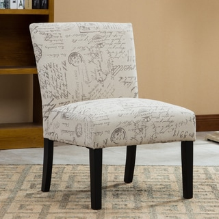 overstock com chairs modern ikea buy slipper chair living room online at our botticelli english letter print fabric armless accent