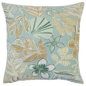 Felice Floral 18-inch Cotton Throw Feather and Down Filled Throw Pillow